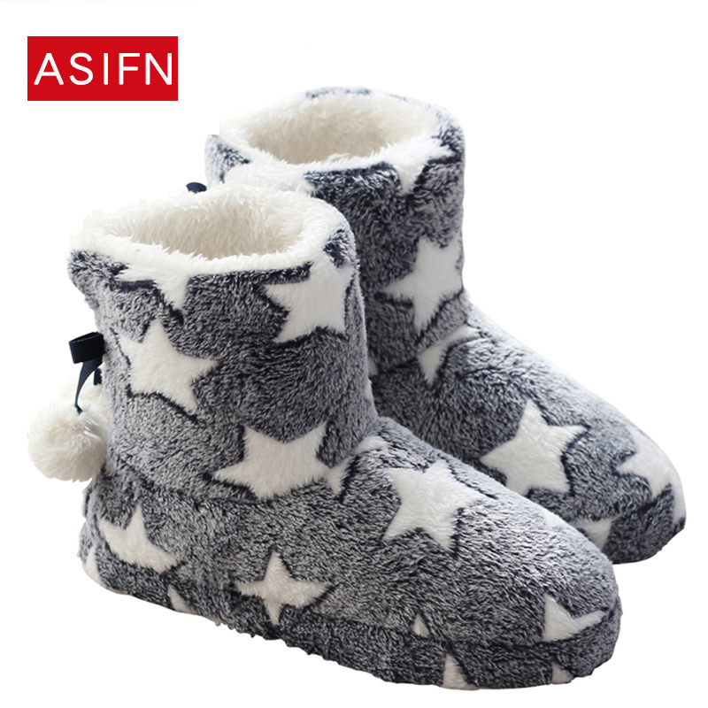 Women Boots Winter Warm Fur Mid-calf Boots Star Warm Plush House Indoor Shoes Woman Flats Comfort Thick Sold Botas Mujer Zapatos цены онлайн
