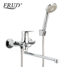 Frud Bathtub Faucet Tap Mixer Low Pressure Massage Shower head Wall Mounted Long Spout Bathroom Tub Faucet poiqihy bathtub faucet long spout faucet hand shower bathroom faucet wall mounted mixer tap with bracket bathroom set