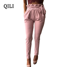 QILI Women Ruffles Pencil Pants Trousers High Waits Pockets Belted Slim Long Pants Elegant Autumn Lady Pants White Black self belted floral peg pants