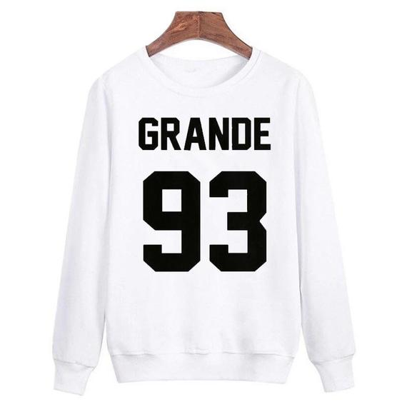 Sugarbaby Ariana Grande 93 Sweatshirt Long Sleeve Fashion Tumblr Casual Tops Crew Neck Ariana Grande Jumper Unisex Fashion Tops