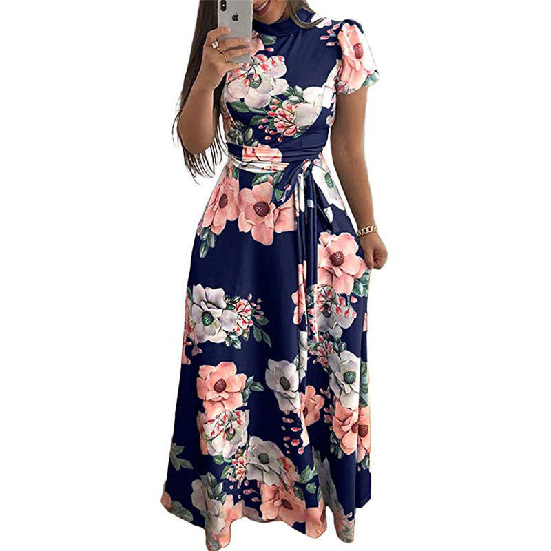 Women Long Maxi Dress 2019 Summer Floral Print Boho Style Beach Dress Casual Short Sleeve Bandage