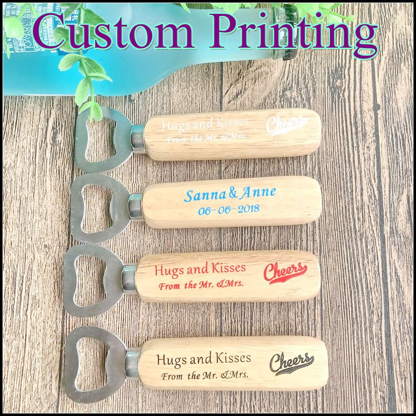 50pcs Lot FREE SHIPPING Personalized Wooden Bottle Opener Wood Beer openers Customized LOGO Special Wedding