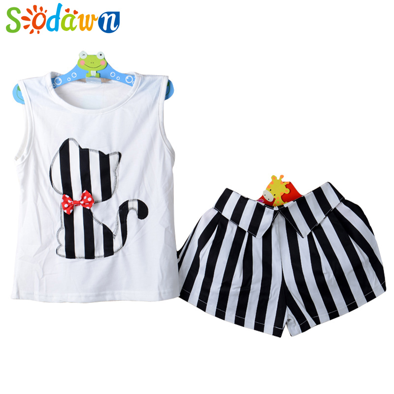 Sodawn Baby Girls Set T-shirt + Short Pants Summer Children's Suit.Clothes Beautiful Style Children's Clothing girls in pants third summer