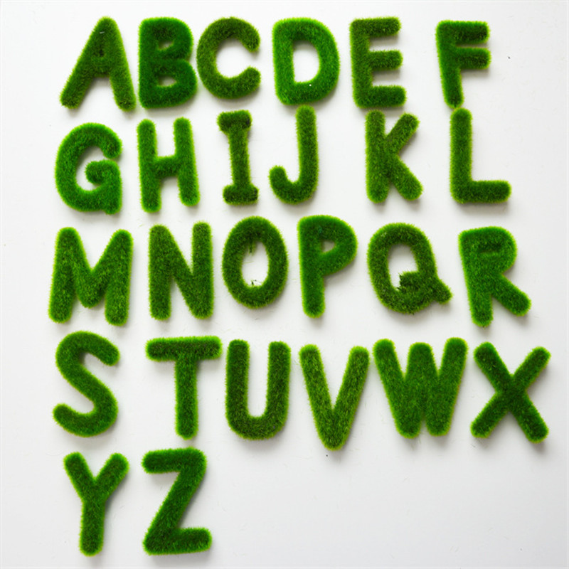 Creative Artificial Moss Grass Letters Alphabet A-Z Potted Plant Wedding Car Decoration Home Table Decor Shooting Props 52826
