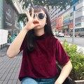Harajuku Casual Primavera Verano Lindo de terciopelo de cuello alto color sólido de la corto-manga de la Camisa femenina camiseta floja superior básico de la camisa Tee