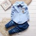 Baby boy девушка одежда наборы мальчик полоса рубашка наборы девушка блузки устанавливает 2 штук 80 см 90 см 100 см 110 см детская одежда джинсы