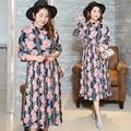 Plus size 4xl longo dress primavera chiffon rosa floral mulheres vestidos de festa à noite praia túnica coreano harajuku manto 0488-215