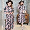 Plus tamaño 4xl larga dress primavera gasa rosa floral mujeres vestidos de playa de corea harajuku partido de tarde de la túnica túnica 0488-215