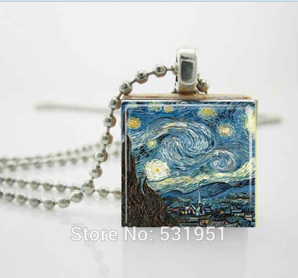 Ví Nữ Vòng Cổ Thời Trang 2014, Đêm Đầy Sao Cổ Vincent Van Gogh Trang Sức Scrabble Ngói Mặt Dây Chuyền