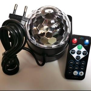 Image 3 - Bola de discoteca giratoria activada por sonido, luces de Fiesta de DJ, 3W, 3LED, RGB, luces de escenario LED, para Navidad, boda, fiesta