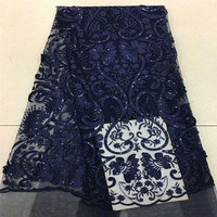 Glitter Navy Blue High Quality Nigeria Party Dress Net Lace African Tulle Lace Sequin Embroidery Lace Fabric X614 07