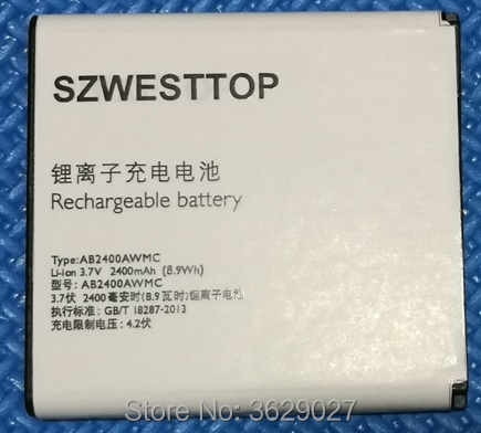SZWESTTOP original AB2400AWMC battery For philips W6500 W732 W736 W832 cellphone Batterie for XENIUM CTW6500 CTW732 smart phone