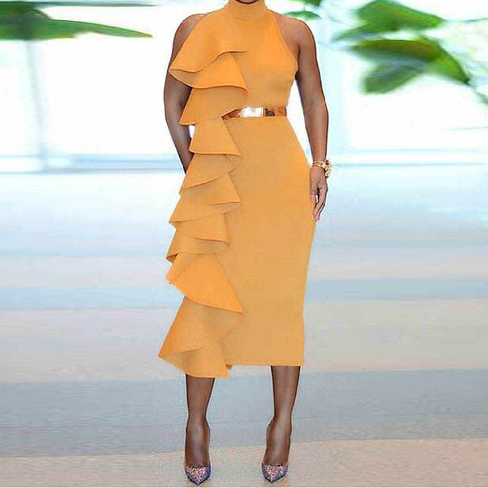 Sexy Bodycon Dress Women Summer 2019 Elegant Evening Patchwork Ruffles Solid Yellow Simple Sleeveless Ladies Party Midi Dresses
