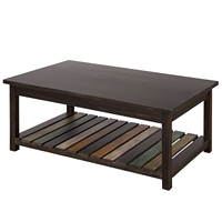 Coffee Table for Living Room with Open Shelf, Cocktail Height Rustic Style Rectangle Coffee Table Solid Wood TV Cabinet Table