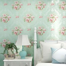 Modern 3D Mural Wallpaper European Style 3D Stereoscopic Wall Paper for Walls Blue Pink Floral Wallpaper Design for Bedroom