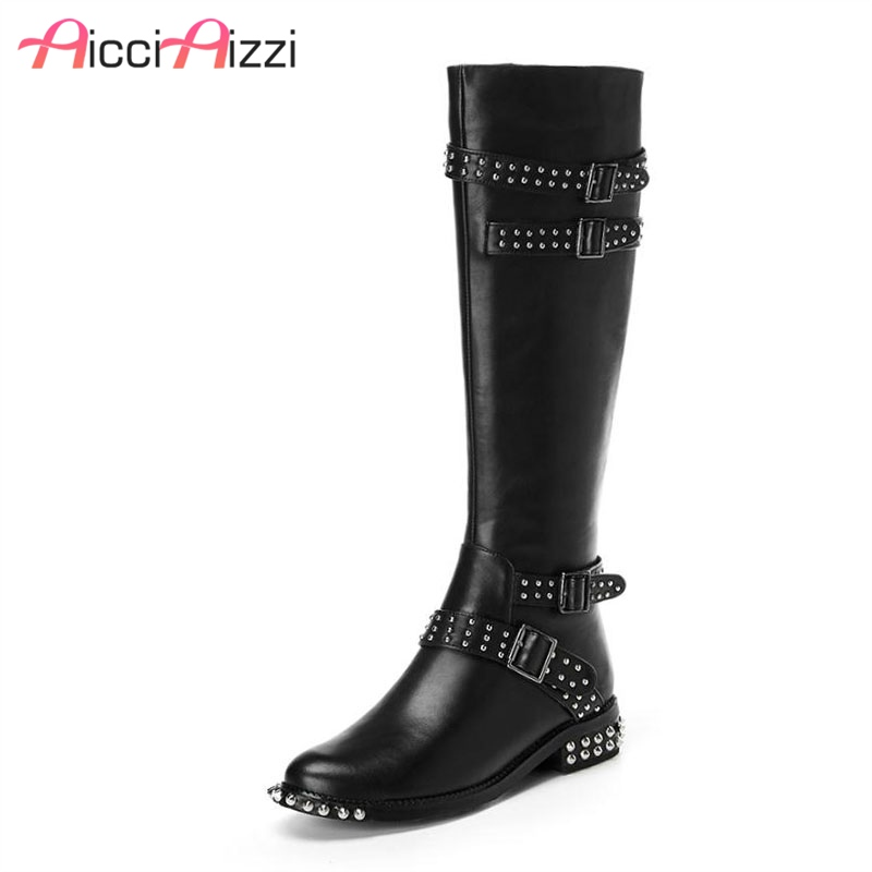 AicciAizzi Sexy Women Real Leather High Heels Boots Rivet Buckle Motorcycle Shoes Women Warm Winter Knee High Boots Size 34-39AicciAizzi Sexy Women Real Leather High Heels Boots Rivet Buckle Motorcycle Shoes Women Warm Winter Knee High Boots Size 34-39