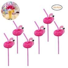 Drinking Straws Plastic Flexible Wedding/pool Kids Decor-Supplies Party 20PCS Flamingo