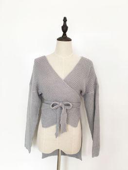 Hirigin Women Sweaters Crop Top Casual Long sleeve Knitted Loose Sweater Knitwear For Women Belt Deep V Neck Outwear Fashion 4