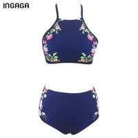 INGAGA 2018 Flower Printed High Neck Bikini Set Bandage Swimwear High Waisted Swimsuit Bathing Suits Summer