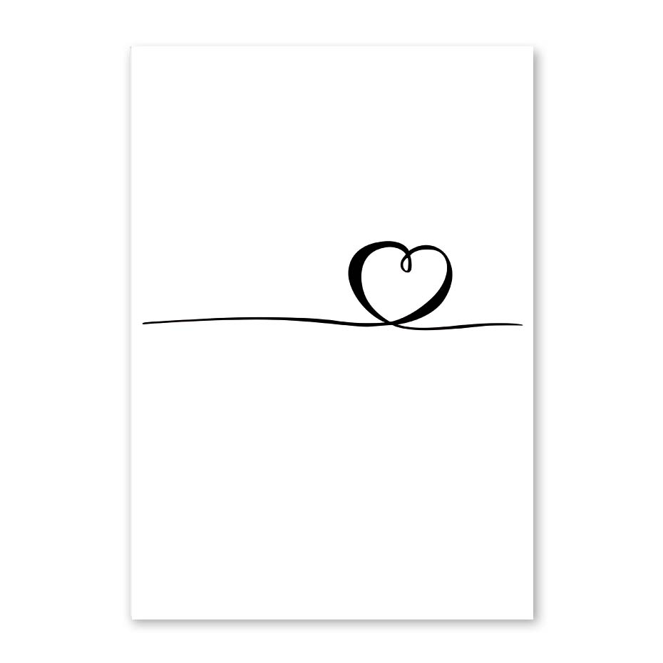 Nordic Poster Heart Picture Black White Canvas Prints Love Poster Wall Art Canvas Painting Heart Posters And Prints (1)