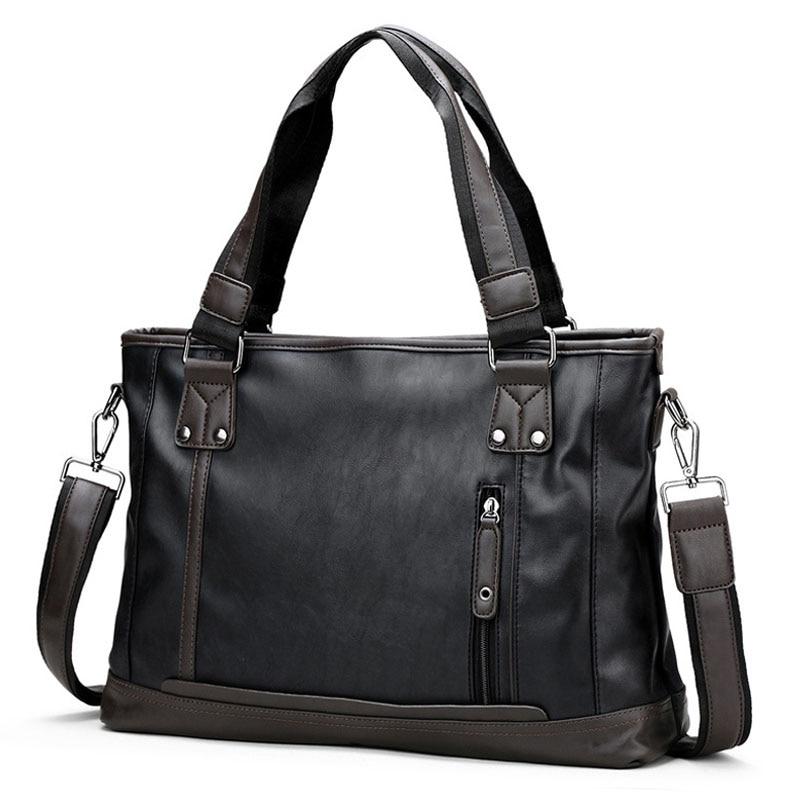 Men's Briefcase Shoulder Bags For Business Vintage Messenger Bag 14' Laptop Handbag Male Crossbody Leather Travel Bags XA176ZC