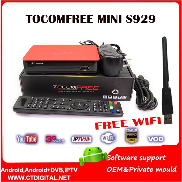 ФОТО receptor de satelite sks iks TocomFREE mini S929 iks usb wifi Satellite Receiver FTA HD IKS IPTV TWIN TUNER South America