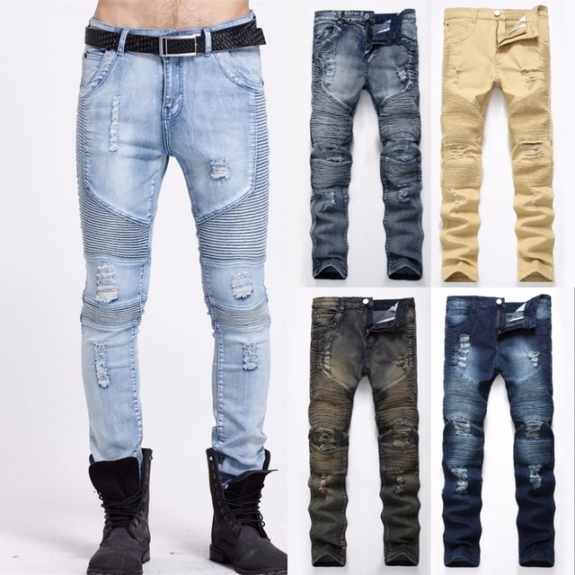 e412e9ccf5d 2018 Denim Jeans Ripped Hole Distressed Biker Jeans Stretch for Men  Motorcycle Pants Skinny New Brand Slim Jeans Plus Size 40 42