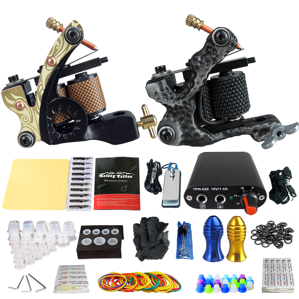 Solong-Stigma Tattoo Complete 2 Coil Tattoo Machine Kit Power Supply Foot Pedal Switch Needles Set TK201-6 black red yellow blue skull design stainless steel tattoo foot pedal switch footswitch power supply