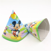 Mickey Mouse Cartoon Theme Caps Happy Birthday Baby Shower Party Decoration Kids Favors Disposable Hats Supplies 6pcslot