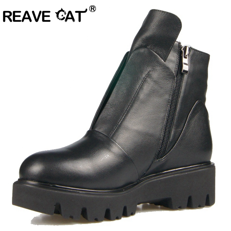 63b4ff151bb9a9 D'hiver Haute Véritable Mode Cuir Vache Chaud Reave Chaussures En Chat De  Plate Bottes Cool Femmes ...