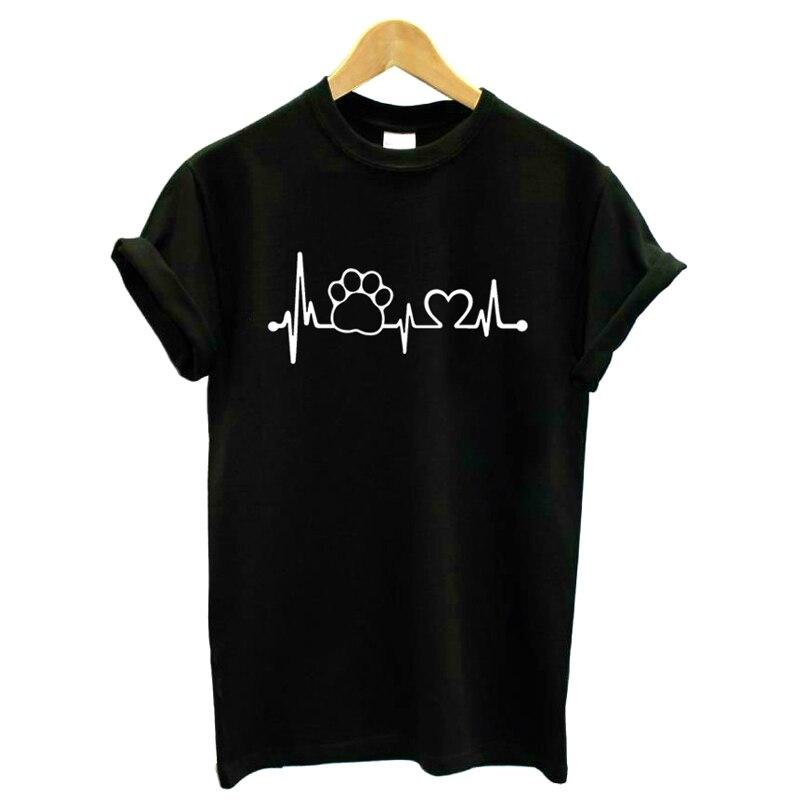 ZSIIBO 2018 Paw Heartbeat Lifeline dog cat Women tshirt Halajuku Casual Funny t shirt For Unisex Lady Girl Top Tees Hipster