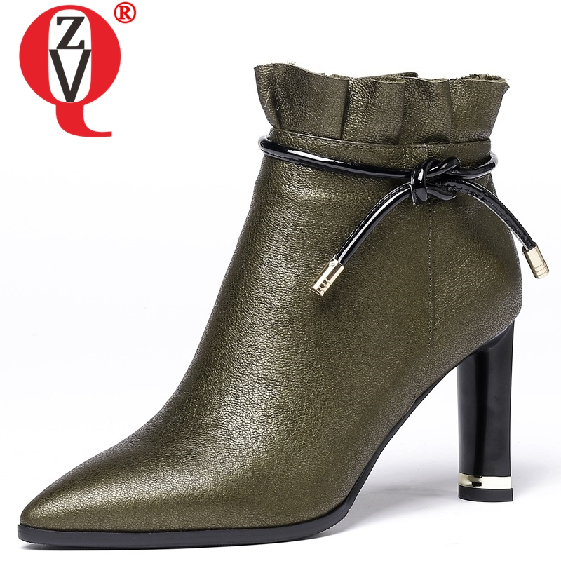 ZVQ newest genuine leather super high strange style pointed toe zipper ankle boots winter fashion black and green shoes womenZVQ newest genuine leather super high strange style pointed toe zipper ankle boots winter fashion black and green shoes women