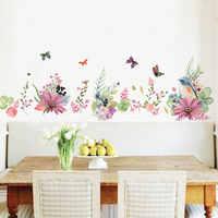Fondo de flores pegatinas de pared removibles creativos autoadhesivos acuarela pintura dormitorio sala de estar adhesivos de decoración de habitaciones
