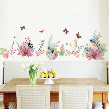 flowers background wall stickers Removable Creative Self-adhesive Watercolor painting Bedroom living room decoration Stickers цена