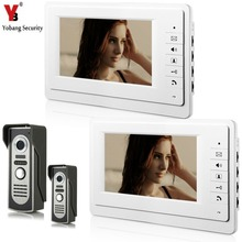 YobangSecurity 7 Inch Wired Video Door Entry System Home Security Camera Video Door Intercoms 2-camera 2-monitor Night Vision