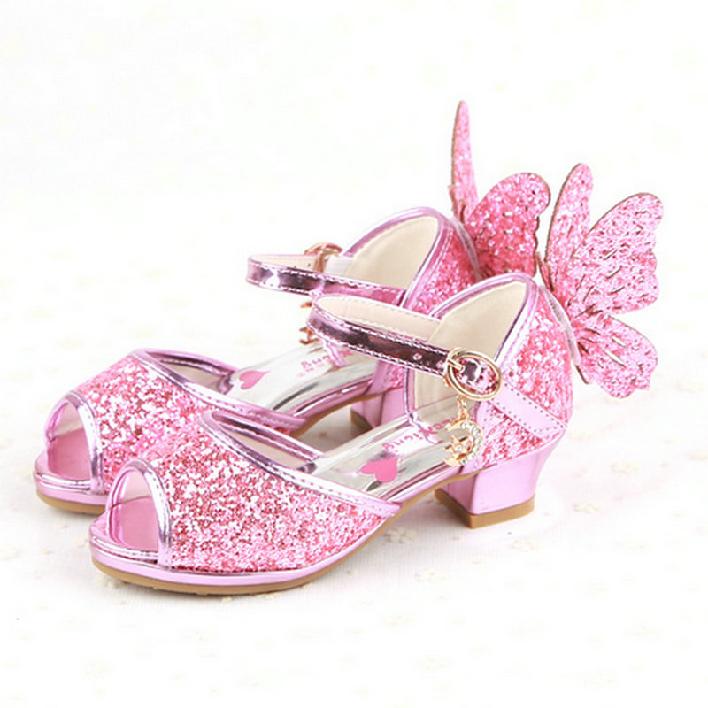 UK Girls Childrens High Mid Heel Shoes Fairy tale Party Kids Bridesmaid Sandals