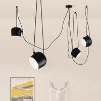 현대 산업 LED E27 매달려 램프 다이닝 룸 거실 레스토랑 블랙 화이트 알루미늄 펜 던 트 조명