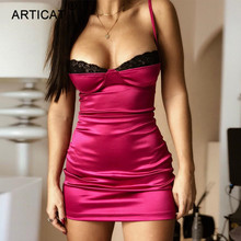 Articat Spaghetti Strap Lace Patchwork Sexy Dress Women V Ne
