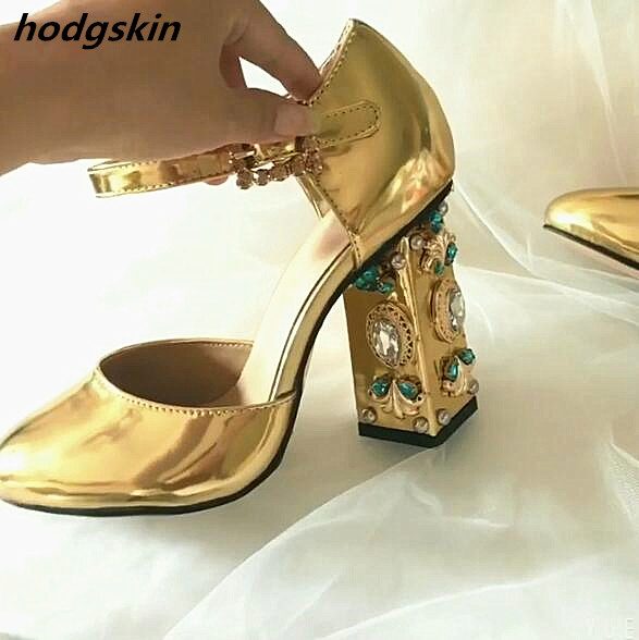 2019 Newest Gold Sliver Metallic Leather Vintage Mary Jane Shoes Jewelry Diamond Thick High Heel Pumps Ankle Buckle Shoes Woman2019 Newest Gold Sliver Metallic Leather Vintage Mary Jane Shoes Jewelry Diamond Thick High Heel Pumps Ankle Buckle Shoes Woman