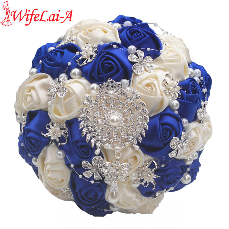 Factory Handmade Gorgeous Crystal Brooch Bridal Wedding Bouquets Roylblue Ivory Silk Rose Diamonds Bouquets W1727 Accept Custom