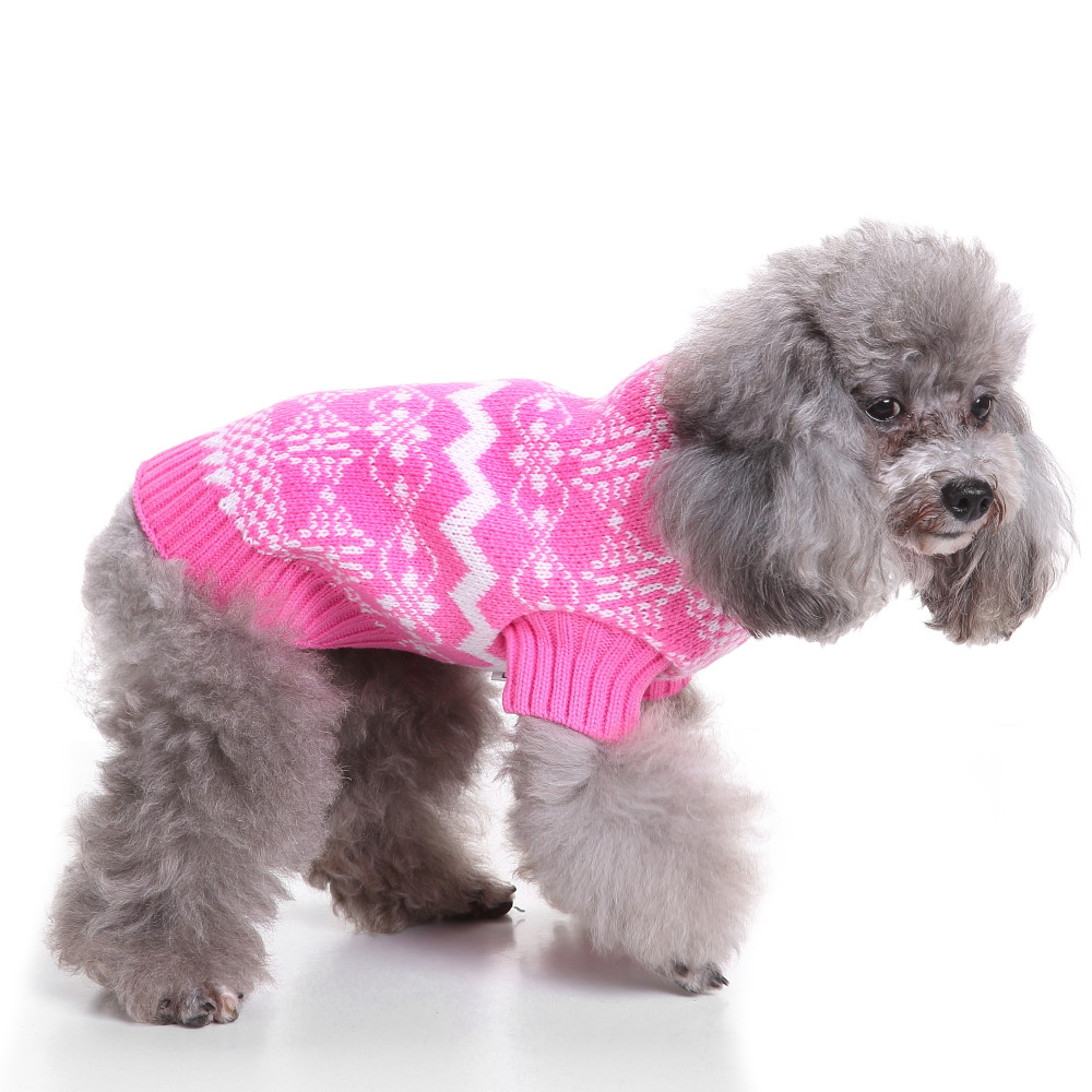 2017 New Fashion Pink Sweety Dog Clothes Puppy Sweater Winter Warm Knit Clothing Apparel For Small Dogs Chihuahua Teddy S-XL