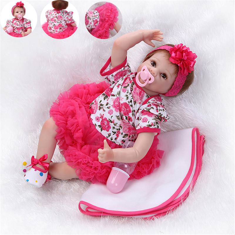 NPK 55cm Full Body Silicone Reborn Baby Doll Toys 22 Lifelike Newborn Playmate Girl Babies Dolls Gift Birthday Gift Toy/ free shipping hot sale real silicon baby dolls 55cm 22inch npk brand lifelike lovely reborn dolls babies toys for children gift