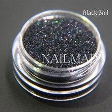 Nail Glitter Shimmer-Powder Nail-Decoration Black Laser 3ml