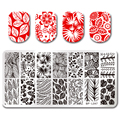 1Pc BORN PRETTY 12*6cm Rectangle Nail Stamping Template Leaf Design Manicure Nail Art Image Plate Nail Art Tool BP-L047