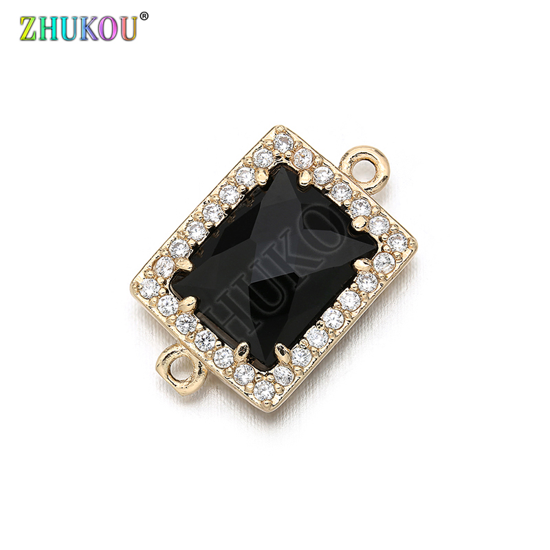 10*17mm High Quality Brass Cubic Zirconia Rectangle Shape Charms Connectors DIY Jewelry Findings Making, Hole:1.0mm Model: VS296