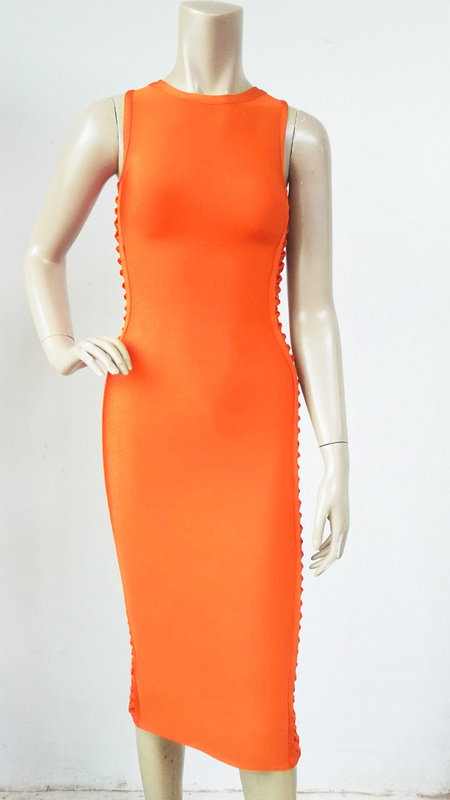 Bandage rouge Sans Gros Manches New Sexy Femmes Orange En Genou Cou Robe Rouge Noir Noir longueur O D'été 2016 Dropshipping Évider orange XTZ1Swqq