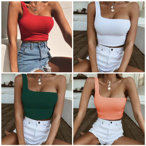 7534fc16857 Fashion Summer One Shoulder Tank Women Casual Halter Top Solid Color Camis  Shirt Sleeveless Crop Tops Ladies High Quality Tanks