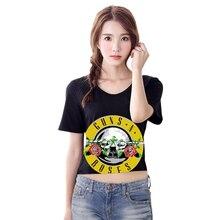 Punk D été Sexy de Femmes T-shirt Guns N RoseS Imprimer Rétro Crop Top  Libres Tops Manches Courtes O-cou Poleras Plus La Taille . 1c90c6d74da