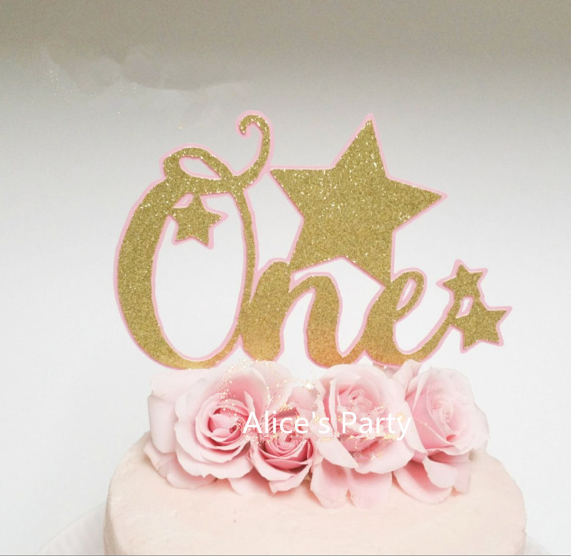 Gorgeous Pink Twinkle Little Stars Gold One Cake Toppers