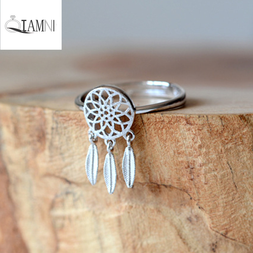 QIAMNI Jewelry Beautiful 925 Sterling Silver Feather Dream Catcher Rings Wedding Birthday Charming Women Girls Christmas Gift